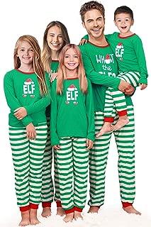 Holiday Christmas Pajamas Family Matching Pjs Set Xmas Jammies for Couples and Kids Green Cotton
