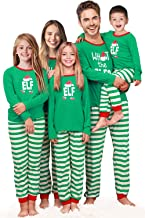 Rnxrbb Holiday Christmas Pajamas Family Matching Pjs Set Xmas Jammies for Couples and Kids Green Cotton