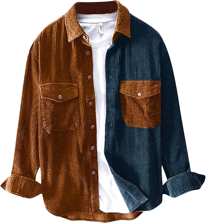 WEI MOLO Mens Cotton Shirt Jacket Button Down Shirts Casual Corduroy Thicken Fleece Shirt Flannel Lined Rugged Coat