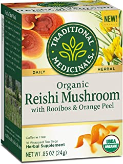 Traditional Medicinals Organic Reishi Mushroom with Rooibos & Orange Peel Tea (Pack of 6)