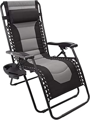 ASTEROUTDOOR ASTZGCBL Patio Lounge Chair with Side Table, Black&Gray