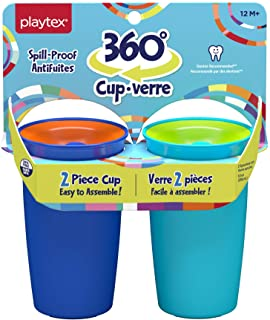 Playtex Sipsters Stage 2 360 Degree Spill-Proof, Leak-Proof, Break-Proof Spoutless Cup for Boys, 10 Oz - 2Count