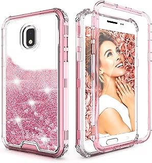 QQcase for Samsung Galaxy J7 Case,Three Layer Clear Glitter Sparkle 3D Flowing Liquid Heavy Duty Shockproof Protective Case for Samsung J7 Refine/J7 Star/J7 TOP/J7 V 2nd Gen 2018/J7 Aero/J7 Aura-Pink