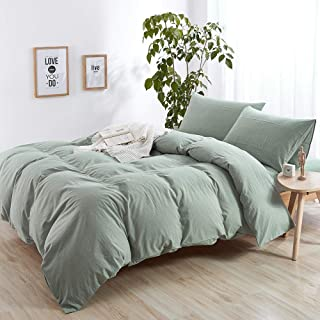 mixinni Modern Style Solid Color 3 Pieces Queen Size Duvet Cover Sets Green 100% Natural Washed Cotton 1 Duvet Cover 2 Pillowcases Hotel Quality Soft Breathable with Zipper Ties -(Queen/Full, Green)