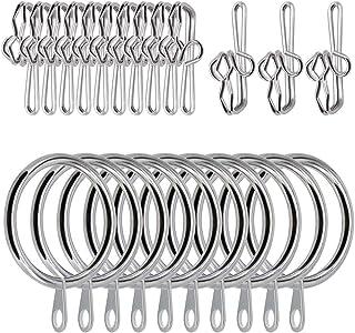 kungfu Mall 150PCS Accessoires de rideau 100 PCS Crochets de rideau en métal argenté Crochets de draperie, 50 Anneaux de r...