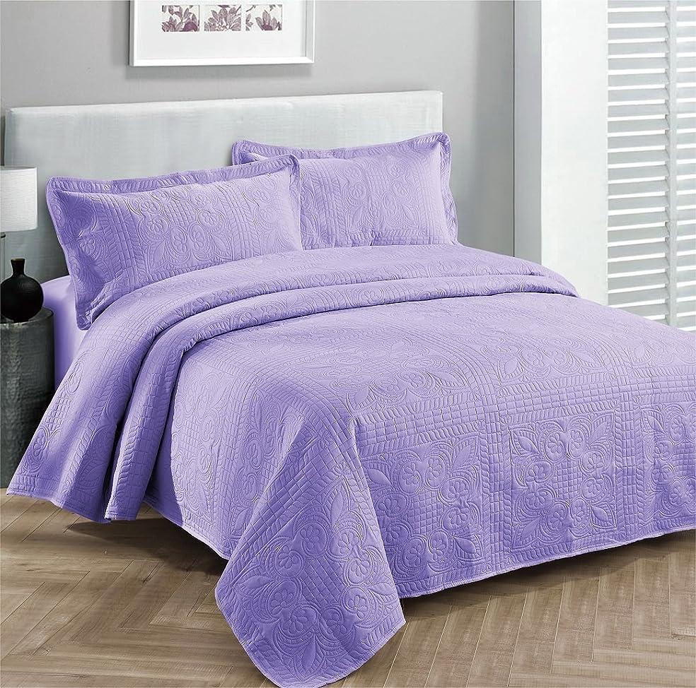 オーディション励起気付く(King/California King, Purple/Lavander) - Fancy Collection 3pc Luxury Bedspread Coverlet Embossed Bed Cover Solid Purple/lavender New Over Size 300cm x 270cm King/california King