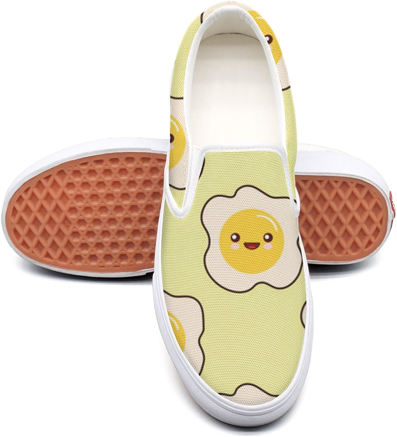 Kawai Fried Egg Faces Womens Fashion Canvas Low Top Cool Basketball shoes For Women
