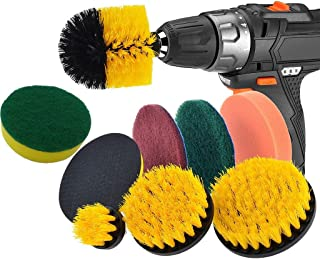 IHGTZS 9 Piece Power Scrubber Cleaning Kit All Purpose Cleaning Scrubbing For Cordless Drill,Back-to-school Season Labor Day Wide Compatibility Drill Cleaning Brush Attachment Set (Multicolor)