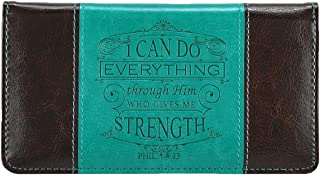 Come On Style Shop Checkbook Cover I Can Do Everything Through Him Inspirational Turquoise & Dark Brown