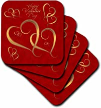 3dRose Golden Hearts Entwined on A Mottled Red Background with Happy Valentines Day - Soft Coasters, Set of 8 (CST_37589_2)
