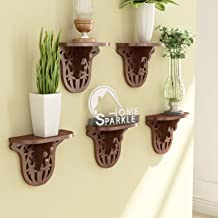 Home Sparkle Carved Floating Wall Shelf | Wooden Carved Wall Shelves for Living Room Bedroom and Office Decor (Brown)
