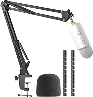 Yeti Mic Boom Arm Stand with Pop Filter, Compatible with Blue Yeti, Blue Yeti Pro USB Microphone with Cable Sleeve by SUNMON