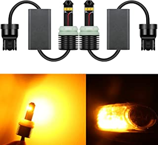 Alla Lighting 2018 Newest Version 2600 Lumens 21W CREE Extremely Super Bright Yellow 7443 7440 7441 W21W 7440NA 7444NA LED Bulbs for Turn Signal Blinker Light Lamps Replacement