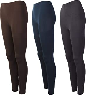 Womenâ€s Ultra Comfort Soft Fleece Lined High Waist Leggings Set of 3 Navy Grey Brown Warm Comfort Brushed Fleece Regular and Plus up to 4X - 3X/4X - Multi