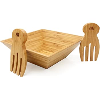 MH ZONE Bamboo Salad Bowl Set with Serving Hands, 11inch x 4inch Diameter, includes large square bowl and matching salad servers, perfect size for serving 4-6 salad portions, Perfect Christmas Gifts
