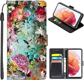 JMTALL Kompatibel med Alcatel 1SE 2020 telefon flip plånbok fodral blommor design PU-läder telefonskydd med korthållare ma...