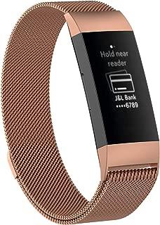 XIHAMA For Fitbit Charge3 バンド 磁気ブレスレット ミラノループ ステンレススチール製 2サイズ 交換リスト マグネット式 調整でき (Small, ローズゴールド)