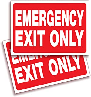Emergency Exit Only Signs Stickers – 2 Pack 10x7 Inch – Premium Self-Adhesive Vinyl Decal, Laminated for Ultimate UV, Weat...