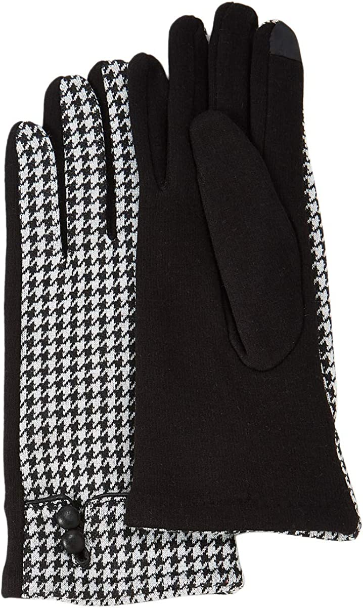 White/Black Plaid/Houndstooth Touchscreen Gloves Stretchable, Cotton Blend