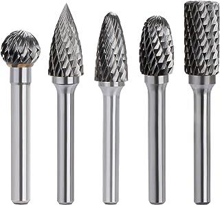 "Double Cut Carbide Rotary Burrs Set - 5PCS 6mm(1/4"") Shank Solid Carbide Rotary Burr File Set for Die Grinder Drill, Metal..."