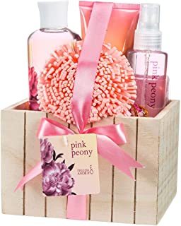 Pink Peony Bathroom Bath Set for Women, Complete Skincare Products in a Beautiful Natural Wood Plant Box, A Romantic Spa Includes Body Lotion, Shower Gel, Bubble Bath, Body Spray, Bath Puff