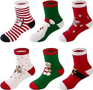 6 Pares Bebe Niños Niñas Calcetines de Algodón de Navidad Lindo Divertido Mantener el calor y Respirable Calcetines