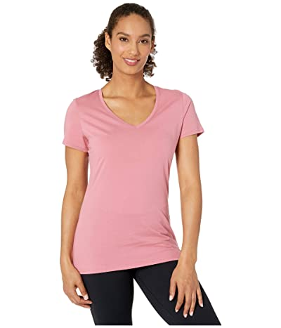 PACT Organic Cotton Featherweight V-Neck Tee (Rosewood) Women