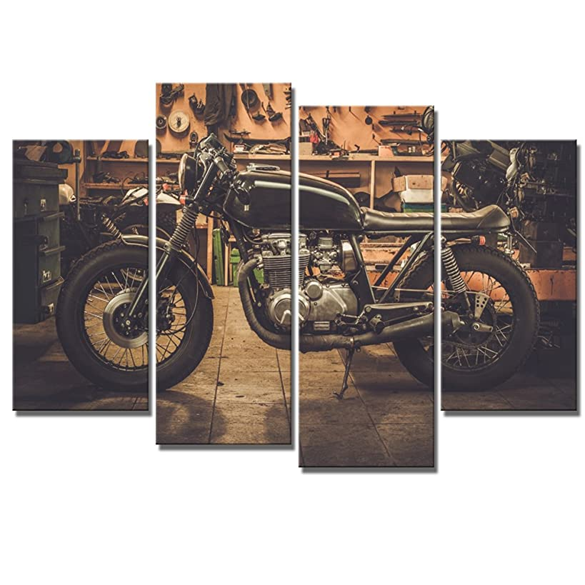 LevvArts 4 Piece Vintage Canvas Wall Art Racing Motorcycle in Garage Poster Print on Canvas for Living Room Decoration Stretched and Ready to Hang Large Size 48x32inch