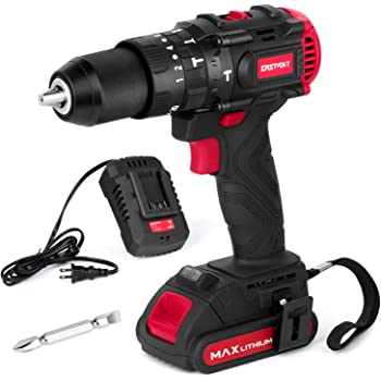 "Eastvolt 20V Brushless Hammer Drill, Drill Driver, 1/2"" metal keyless chuck, 2 speed Max 2000RPM, 20+1 torque settings, Hammer & Drill & Screwdriver, 530 In-lbs Torque, 2.0Ah Battery, Fast Charger"