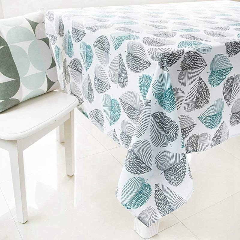 HomeyHo Leaves Print Fabric Table Cloths 55x70 Kitchen Rectangle Pattern Floral Protective Tablecloth For Dining Table Dust Cover Washable Easy Clean 55 X 70 Inch