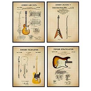 Famous Guitars Patent Print Set - Vintage Fender, Les Paul, Stratocaster, Telecaster, Flying V - Gift for Musician, Guitar Player - Wall Art Poster Set, Home Decor for Bedroom, Living Room - 8x10 Set
