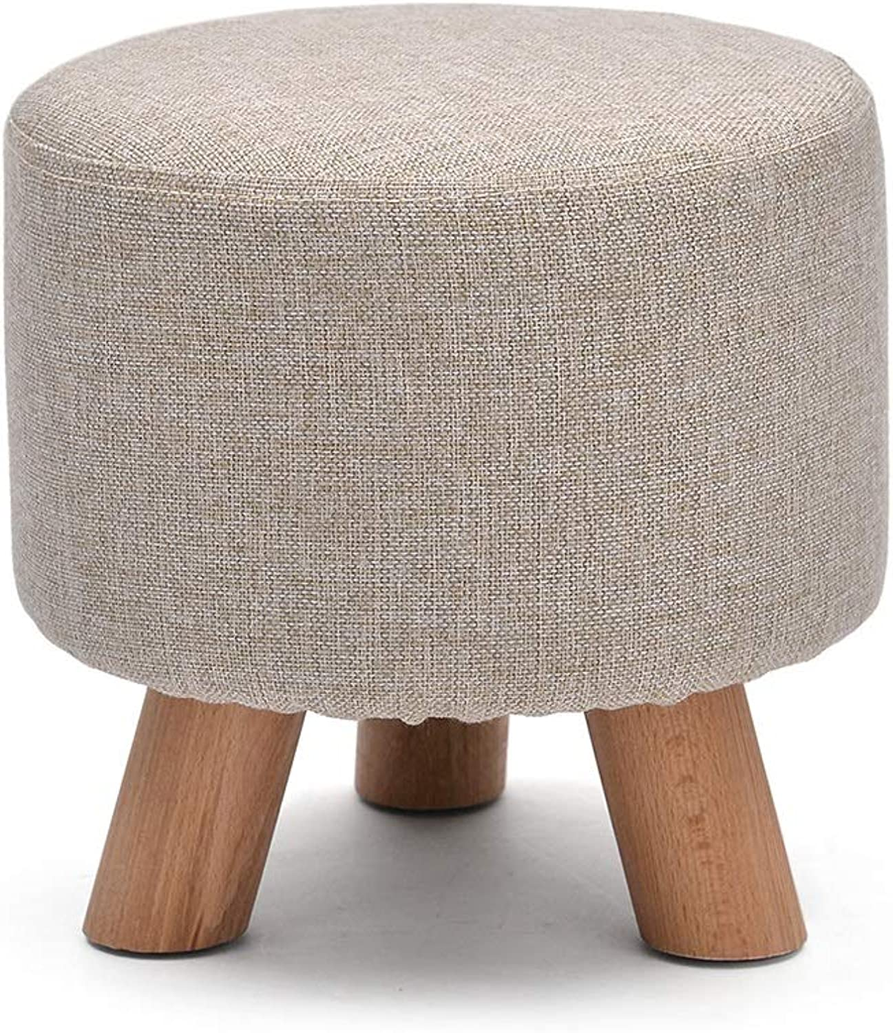 Footstool, Change shoes Stool Round Wooden Legs Cloth Cotton Sofa Living Room Bedroom Home HPLL (color   3, Size   29  29cm (3 Legs))