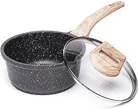 Carote 2-Quart Sauce Pan with Glass Lid,Soup Pot Nonstick Saucepan Granite Coating from Switzerland