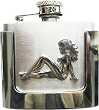 JEAN'S FRIEND Truck Girl Mudflap Girl Two Ounce Stainless Steel Flask Belt Buckle US Stock