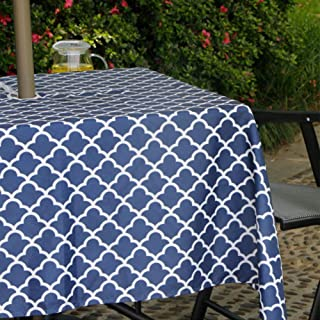 Jaoul Outdoor Umbrella Hole Tablecloth Spillproof Waterproof with Zipper for Spring & Summer, Family Patio Garden Cafe Tabletop Decor (Navy, 60
