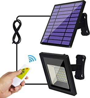 Solar Lights Outdoor IP65 Waterproof Solar Flood Lights 30 LED Spotlight, Remote Control 9.2Ft Cord Easy-to-Install Security Lights with Adjustable Solar Panel for Front Door, Yard, Garage, Deck