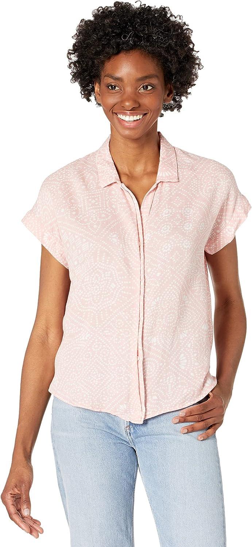 Lucky Brand Women's Short Sleeve Button Up Knot Front Top
