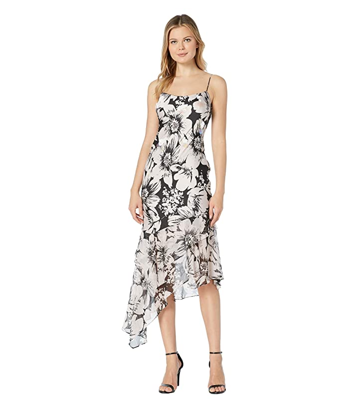 Adrianna Papell Bias Cut Floral Printed Chiffon Midi Dress (Blush/Black) Women