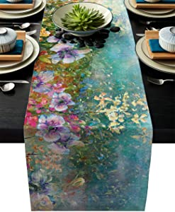 Linen Table Runner for Dining Table,Flowers Bloom in Spring Shabby Wall Background Machine Washable Table Top Covers 13x90Inches for Home Kitchen Wedding Party Outdoor Decor