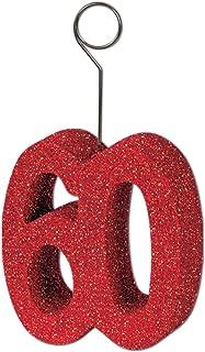Beistle Glittered 60 Photo Balloon Holder Desk Weight, Birthday Party Supplies, Red