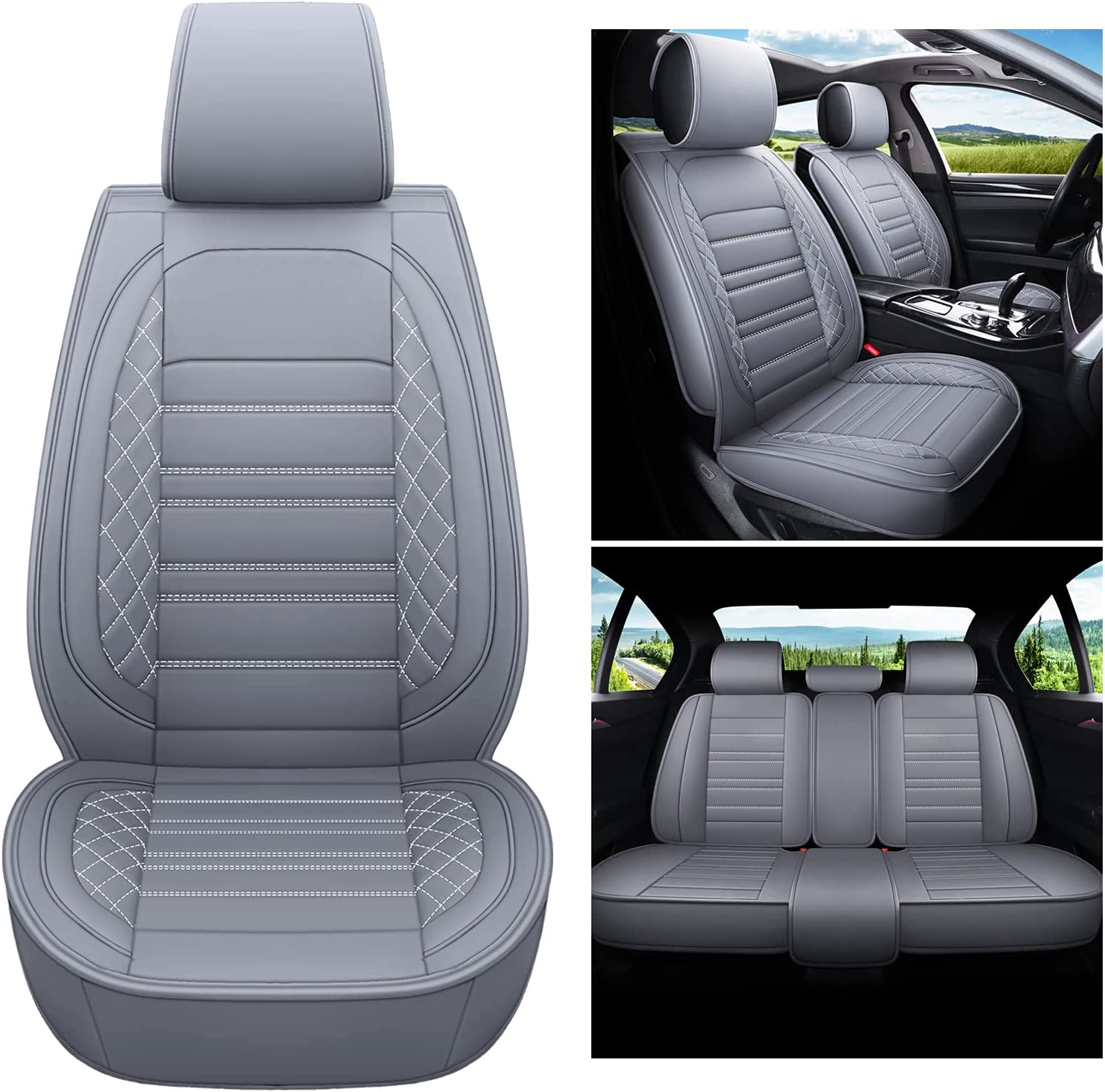 kyohans Car Seat Covers price Full Set Universal Leather 5 Seats low-pricing