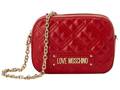 LOVE Moschino Small Quilted Crossbody (Red) Handbags