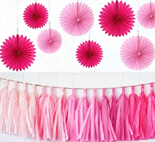 zorpia Party Wedding Decorations Paper Fans and Tassel Set - Assorted Fans of 10, 16-Inch, 23 Pieces, Assorted Colors (Pink and Rose)
