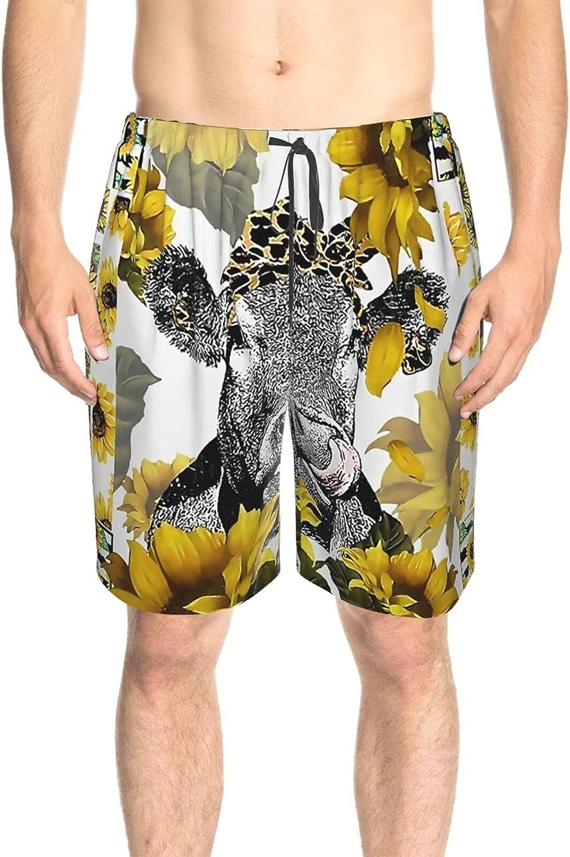 JINJUELS Men's Swim Shorts Sunflower Cow Bowknot Beachwear Board Shorts Drawstring 3D Printed Summer Beach Shorts