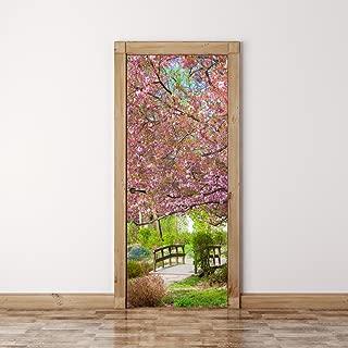 RoyalWallSkins Door Mural Wall Sticker Japanese garden Sakura - Bubble Free Version, Semi-Glossy, Self Adhesive Peel & Stick Door Wrap (36 x 80)