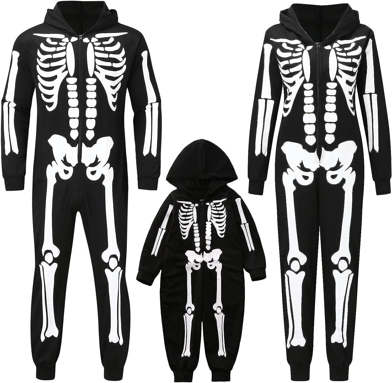 Halloween Family Pajamas Skeleton Print Hoodie Jumpsuit Pajamas Family Sleepwear Matching Set