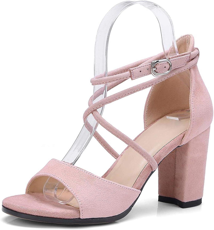 Merry-Heart Summer Buckle Strap Square Heel Sandals Women Block Heels shoes Woman,