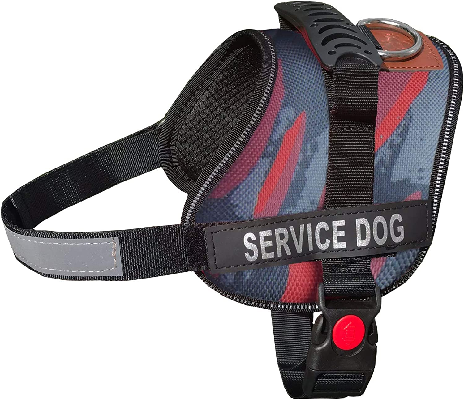 ALBCORP Service Dog Vest Harness  Reflective  Woven Nylon, Adjustable Service Animal Jacket, with 2 Hook and Loop Removable Patches, Small, Red Camo