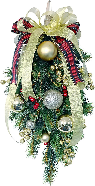 BFYDOAA High material 19.7inch Christmas Swag Teardrop Door Wreath half Garlan Xmas