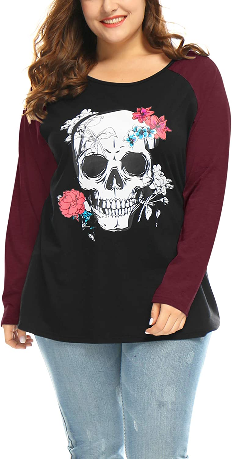 uxcell Women's Plus Size Top Floral Skull Contrast Color Raglan Tops